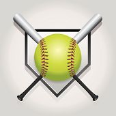 stock photo of softball  - An illustration of a softball bat and home plate - JPG