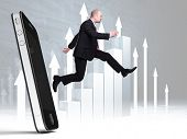 running businessman jump from 3d smartphone