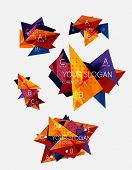 Collection of geometric shape triangle infographic layouts - origami option graphics layouts made of