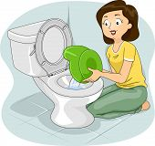 foto of flush  - Illustration of a Mother Flushing the Contents of a Potty to a Toilet Bowl - JPG