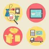 Internet shopping concept, flat design vector icons.