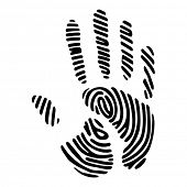 black hand print with fingerprint pattern