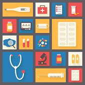 Medical vector icons set. Ambulance and stethoscope. Healthcare infographic elements.