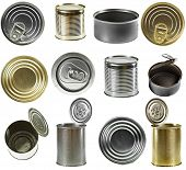 Collection set of tin cans isolated on white background