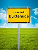 An image of the city sign of Buxtehude