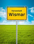 An image of the city sign of Wismar