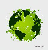 Modern green globe. Vector Illustration.