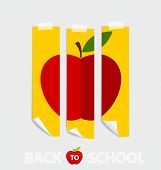 Cute note papers with red apple, welcome back to school. Vector illustration.