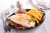 chicken breast and fries