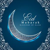 foto of ramazan mubarak  - Shiny crescent moon on floral decorated blue background for the occasion of Muslim community festival Eid Mubarak celebrations - JPG