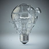 Light bulb exploding. Concept of idea. 3d