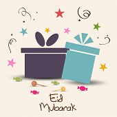 Muslim community festival Eid Mubarak celebrations greeting card design with stylish gift boxes on s