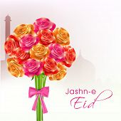 Beautiful roses bouquet on mosque silhouetted background for the occasion of Muslim community festiv