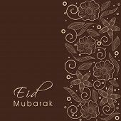 Beautiful floral decorated greeting card design on brown background for the occasion of Muslim commu