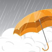 Stylish monsoon season background with open yellow umbrella, and clouds with rain drops.