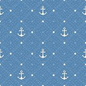 Vintage Marine Seamless Pattern. Paper Textured Background. Polka Dot With Anchors On Blue Backgroun