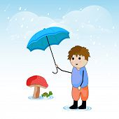Cute little boy holding an umbrella, water drops coming out from blue sky.