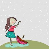 Cute little girl enjoying rains on nature background for Monsoon Season.