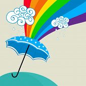 Beautiful monsoon season concept with blue umbrella on rainbow and clouds decorated background.