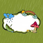 Kiddish monsoon season concept with clouds, rainbows, umbrella and mushroom with space for your text