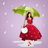 Stylish young girl holding an umbrella concept for monsoon season background.