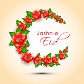 Beautiful red roses and green leaves decorated crescent moon for Muslim community festival Jashn-e-E