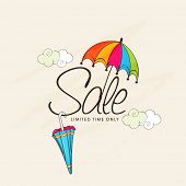 Monsoon offer banner design with colorful umbrellas and clouds on beige background.