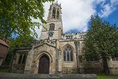 image of octagon  - Old medieval All Saints church in english city of York with clock and octagonal lantern tower - JPG