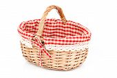 Empty Wicker Basket With Red Linen Lining, Isolated On White Background