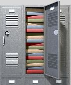 foto of combination lock  - A perspective view of a stack of grey metal school lockers with combination locks and one with an open door crammed full of a pile of books on an isolated background - JPG