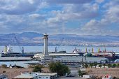 AQABA, JORDAN - MARCH 14, 2014: View to the cargo port of Aqaba. The port's location linking Africa