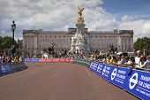 LONDON, UK - JUNE 30, 2014: Tour De France. Crowd awaiting cyclists in Green park, near the Buckingh