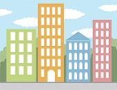 multicolored buildings vector