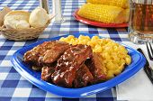 Barbecued Ribs With Macaroni And Cheese