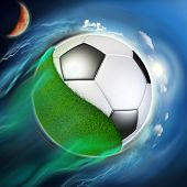 Soccer Ball Globe With Grass Travel In Space