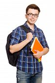 Funny student isolated on white