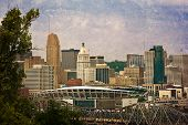 Downtown Columbus with the football stadium in the foreground.  This image has been treated with a texture overlay.