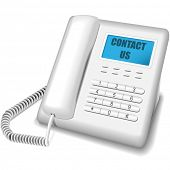 Modern white telephone isolated on white background. Contact us icon.