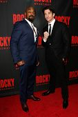 NEW YORK-MAR 13: Actors Terence Archie (L) and Andy Karl attend the 'Rocky' Broadway opening night a