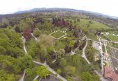 Aerial view on Arboretum in Volcji Potok in SLovenia