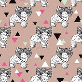 Seamless geometric woodland animal doodle sketch illustration grizzly bear background pattern in vec