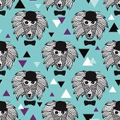 Seamless geometric jungle animal doodle sketch illustration baboon monkey background pattern in vect