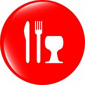 Eat Sign Icon. Cutlery Symbol. Knife, Fork And Wineglass. Modern Ui Website Button