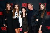 NEW YORK-MAR 13: Jennifer Flavin (L), Sylvester Stallone (2nd R) and daughters Sophia, Sistene and S