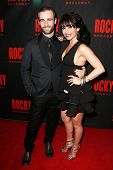 NEW YORK-MAR 13: Actress Michelle Aravena (R) and Drew Foster attend the 'Rocky' Broadway opening ni