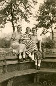 GERMANY, CIRCA FORTIES - Vintage photo of three women outdoor