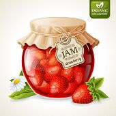 Strawberry jam in glass