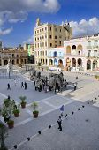 HAVANA, CUBA - MARCH 27, 2009: View of Plaza Vieja with art installation during 10th Havana Biennial