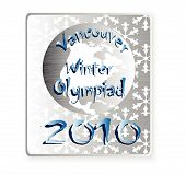 picture of olympiad  - metallic badge winter olympiads in Vancouver with inscription - JPG