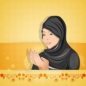 Religious muslim woman praying on floral decorated bright yellow background for Muslim community fes